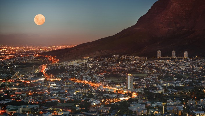 Cape town moon city lights cityscapes wallpaper