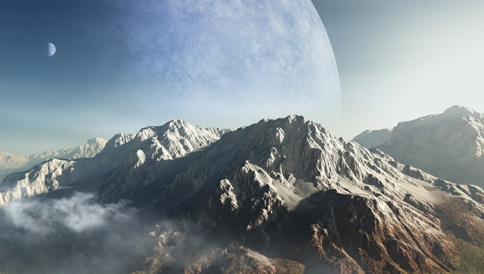 Mountains clouds planets alien landscapes wallpaper