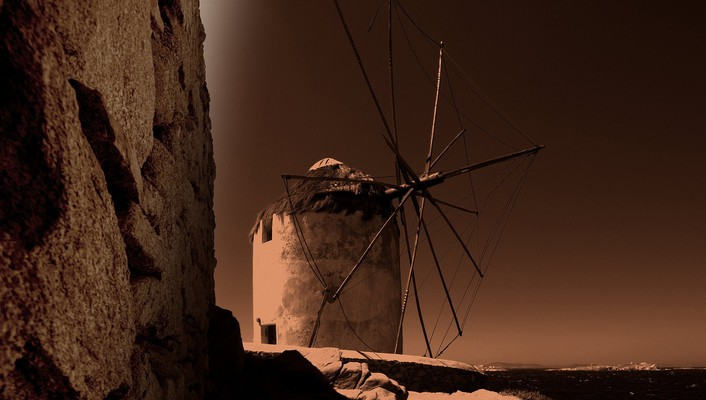 Sepia windmills wallpaper