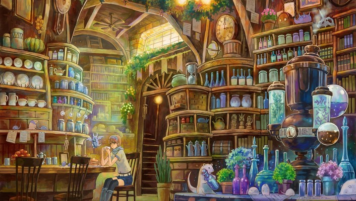 Potion plates arches shelves jars interior spaces wallpaper