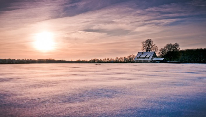 White carpet over fields in winter wallpaper