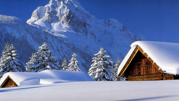 Cabin landscapes mountains snow winter wallpaper