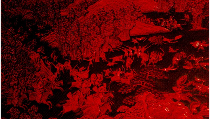 Carved red chinese battle scene wallpaper