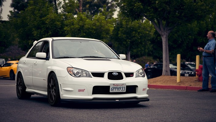 California subaru impreza wrx sti black white wallpaper