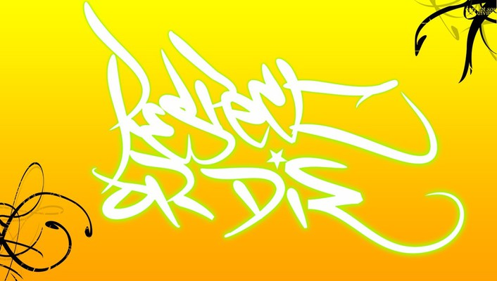 White yellow graffiti wallpaper