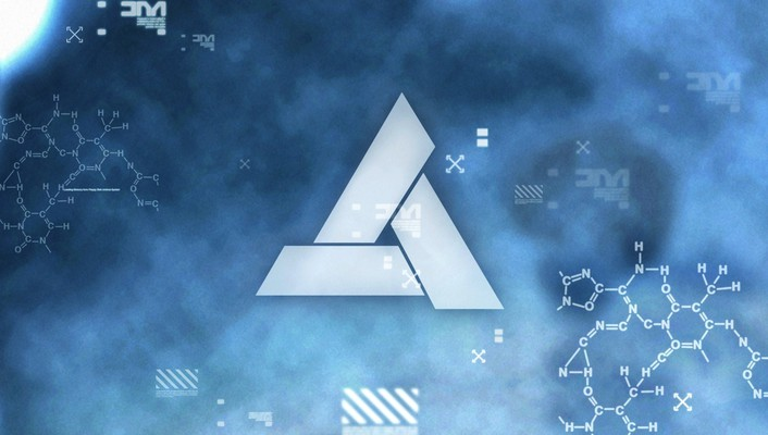 Abstergo industries animus assassins creed blue letters wallpaper