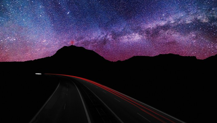 Mountains clouds landscapes lights stars roads evening wallpaper