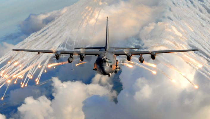 Ac-130 aircraft clouds sky wallpaper