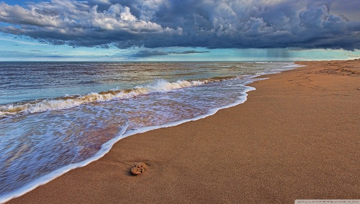 Water clouds nature beach sand sea wallpaper