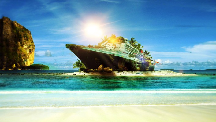 Sunset landscapes sun beach ships islands photomanipulation speedart wallpaper