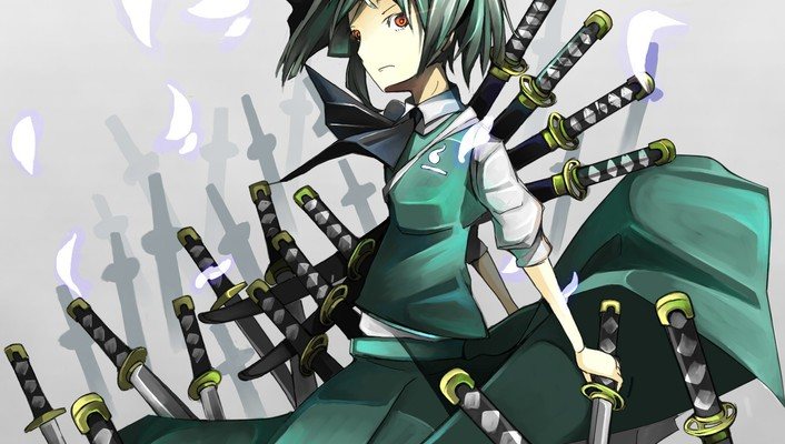 Katana weapons konpaku youmu short hair swords wallpaper