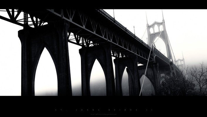 Black and white bridges dawn wallpaper