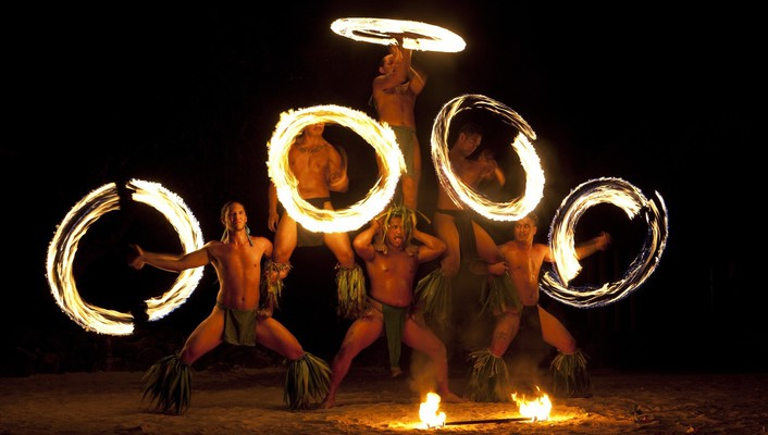 French polynesia moorea dancers fire wallpaper