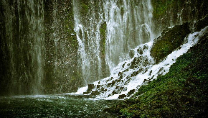 Green nature scenic waterfalls wallpaper
