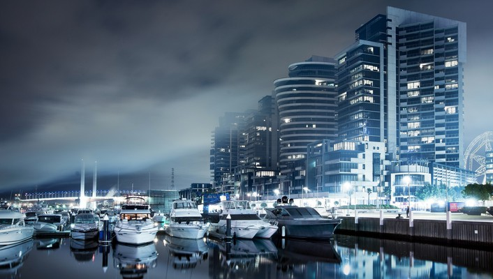 Blue cityscapes ships boats skyscrapers dockland wallpaper