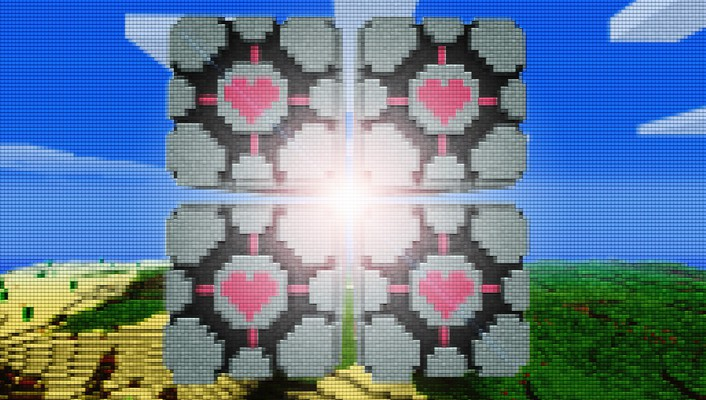 Minecraft portal artwork cubes mosaic wallpaper
