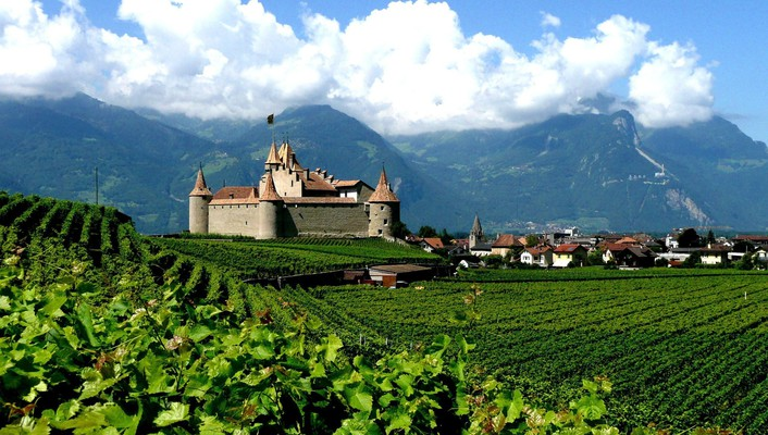 Swiss aigle castles green nature wallpaper