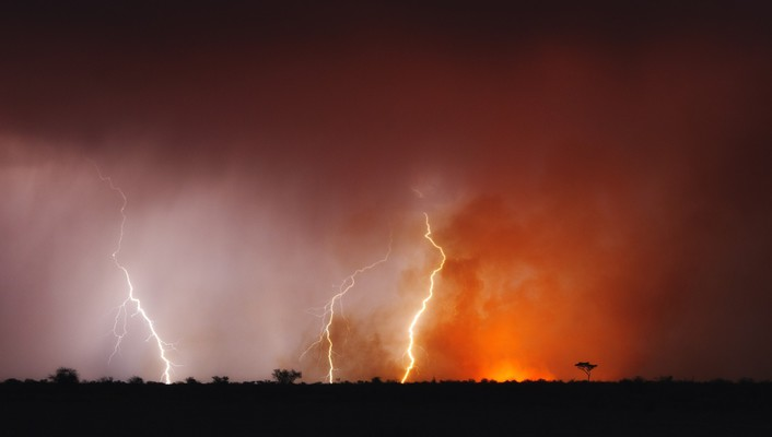 Botswana landscapes lightning wallpaper