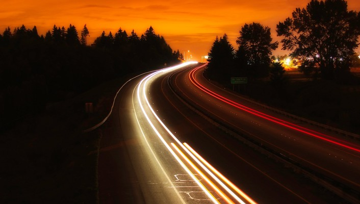 Interstate night highway wallpaper