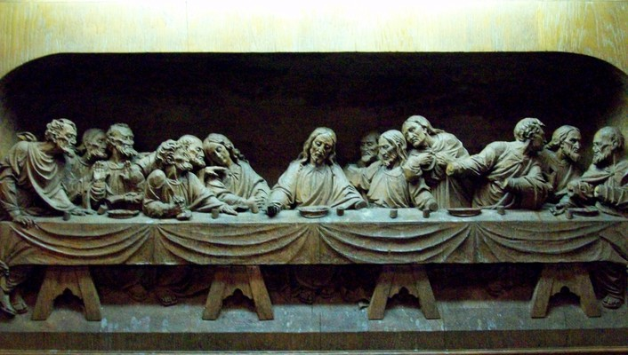 The last supper artwork wood carving wallpaper