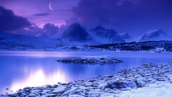 Cold norway lakes dusk wallpaper