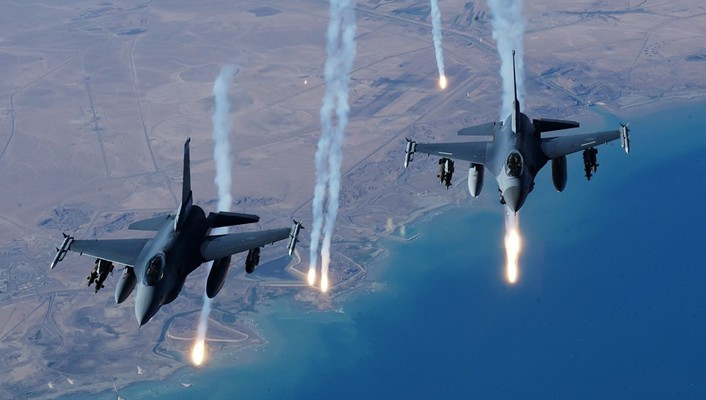 Aircraft flares f-16 fighting falcon air skies wallpaper