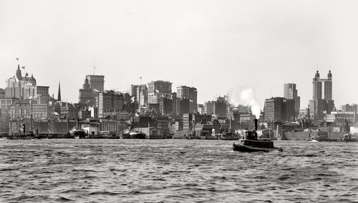 City monochrome historic east river old photography wallpaper
