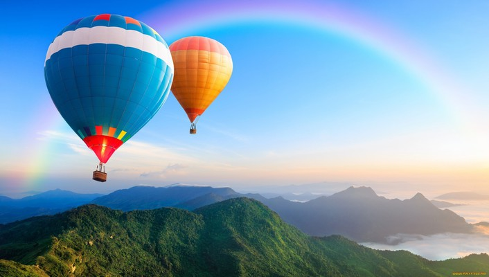 Mountains landscapes nature rainbows baloons skies wallpaper