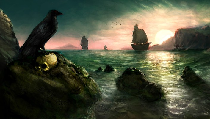 Artwork crows paintwork raven sailing ships wallpaper