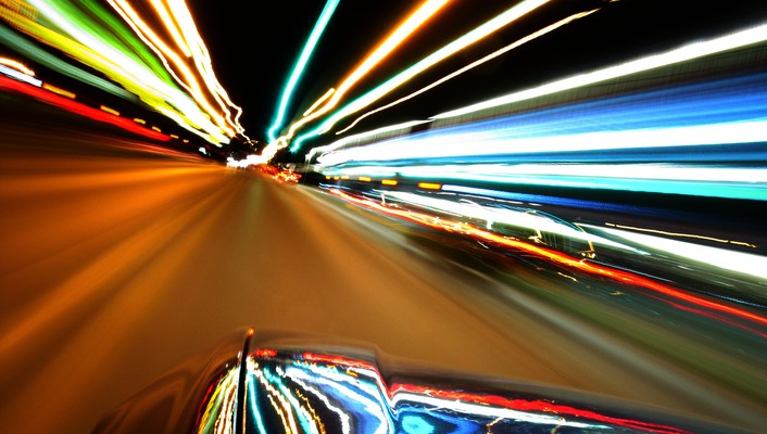 Citylife lights light trails streets wallpaper