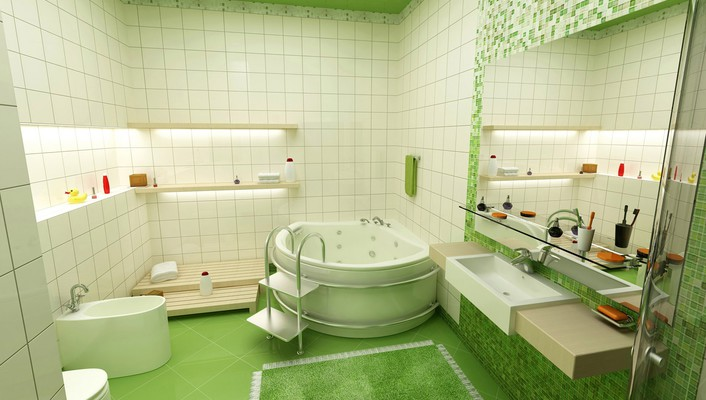Architecture bathroom green interior design wallpaper