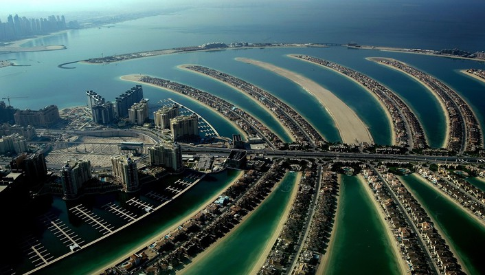 Dubai the palm jumeirah archipelago hotels manmade wallpaper