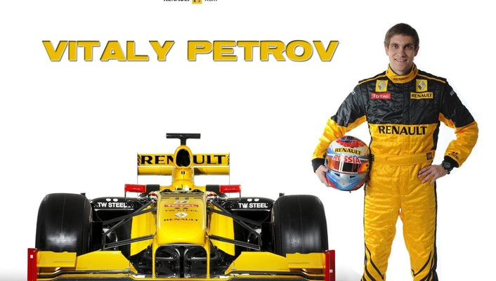 Formula one renault vitaly petrov white background wallpaper