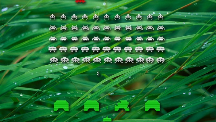 Grass space invaders retro games wallpaper