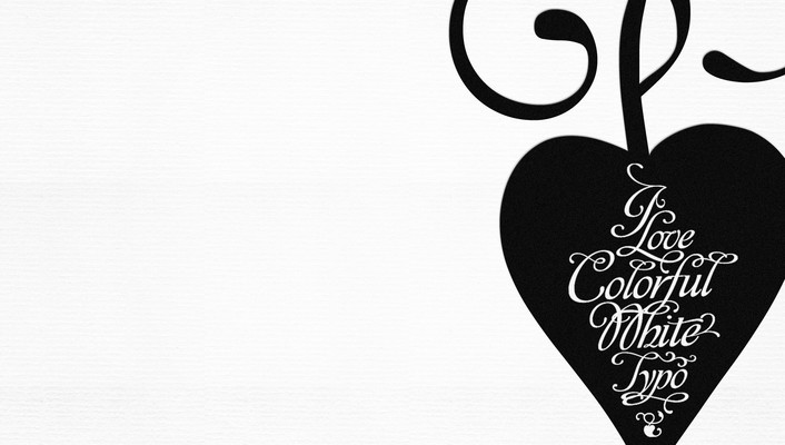 Black and white typography hearts wallpaper
