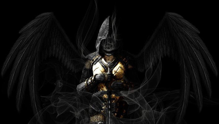 Weapons artwork swords armour black background hood wallpaper