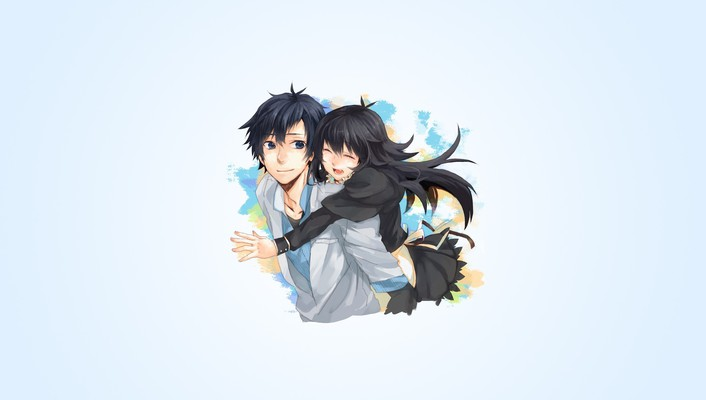 Boys closed simple background girls black hugging wallpaper