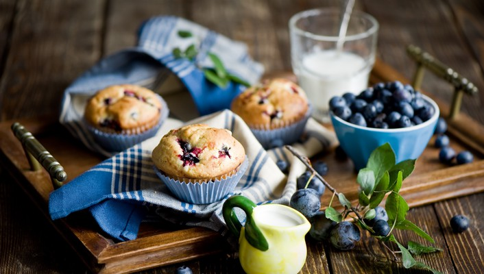 Food muffins blueberries cakes wallpaper