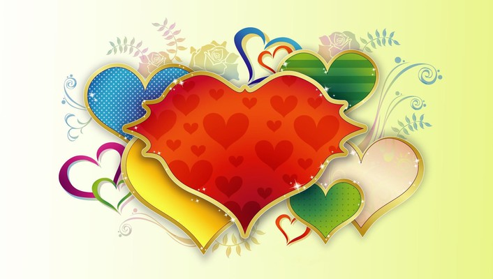 Love red multicolor flowers vector hearts wallpaper