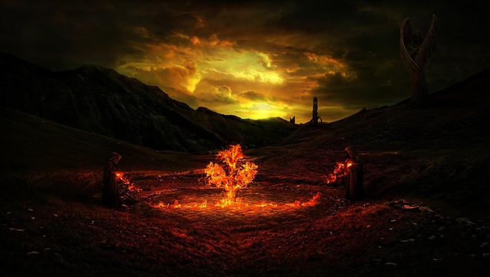 Desktopography gothic fantasy art fire wallpaper