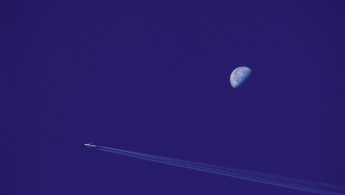 Blue minimalistic airplanes moon wallpaper