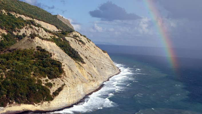 Cliff coast nature rainbows sea wallpaper