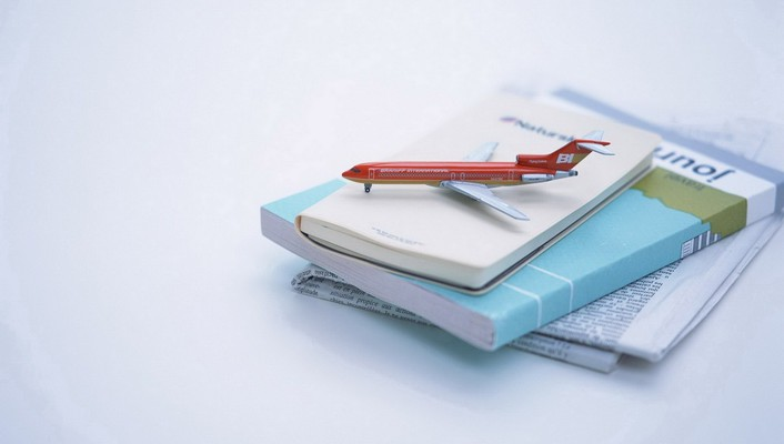 Aircraft books miniature travel newspapers wallpaper
