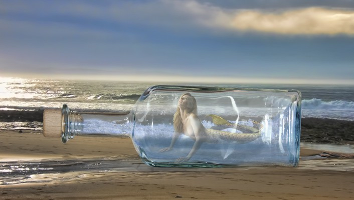 Beaches blondes bottled bottles digital art wallpaper