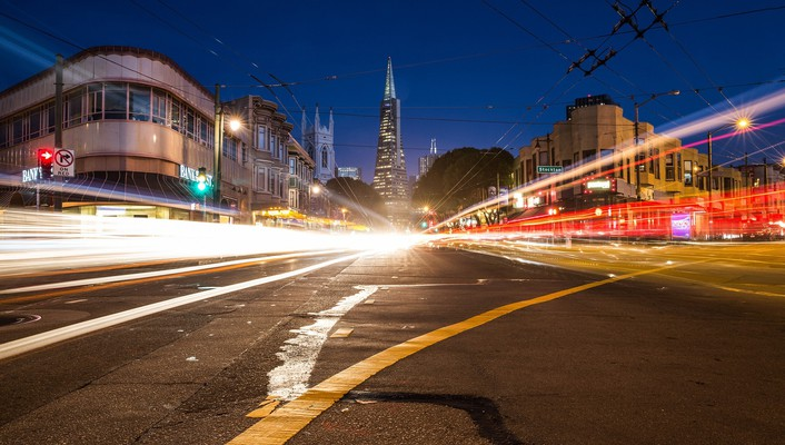 Cityscapes traffic long time exposure wallpaper
