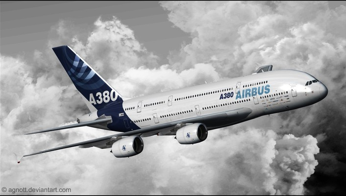 Airbus a380 aircraft aviation clouds wallpaper