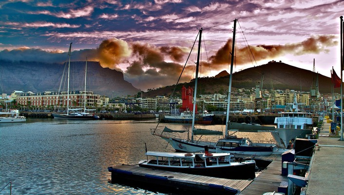 Cityscapes clouds harbours hills port wallpaper