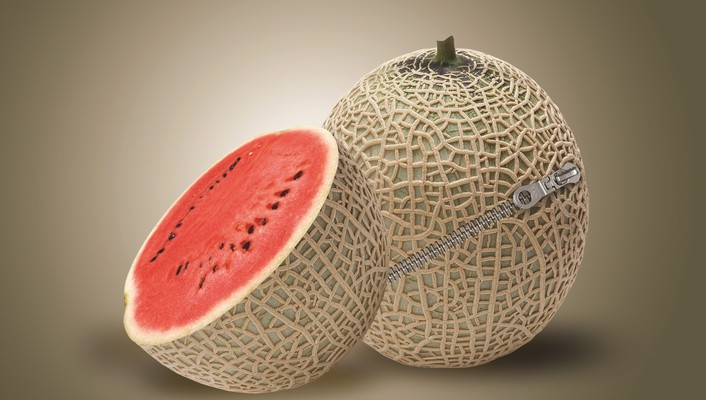 Zippered melon wallpaper