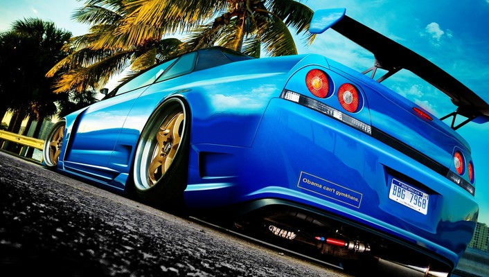 Market nissan skyline r33 blue cars tuning wallpaper