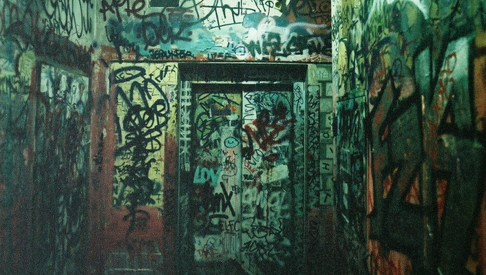 Room graffiti grain doors wallpaper